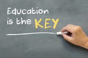 Education & Learning are keys to a better & more fulfilling life, Image shows hand with chalk and blackboard