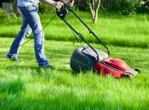 Many gardening jobs are hard work, Image shows man cutting long grass with a lawn mower
