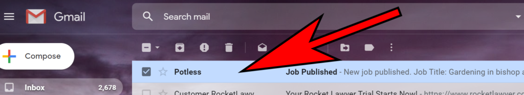 Image of 'Job Published' email received from potless.co.uk