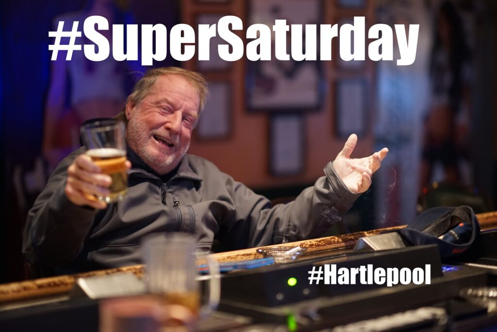 Pioneering Spirit? Image shows older man & Universal Credit claimant drinking in Hartlepool bar on #SuperSaturday