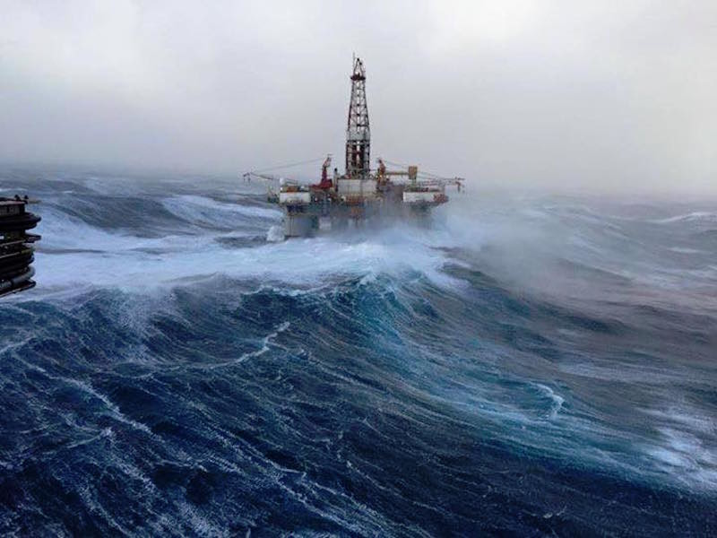 Image of oil rig in bad weather