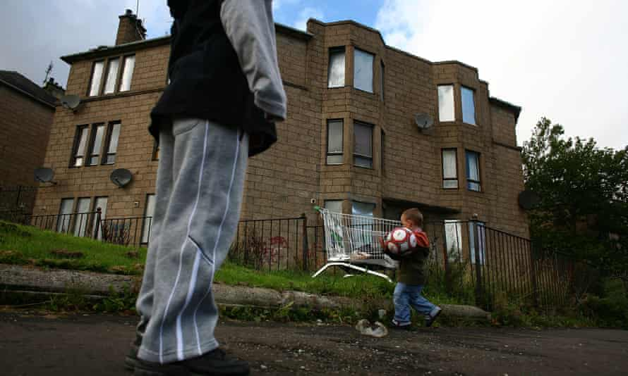 Divided Britain, potless families living in poverty pre Covid joined by many more post furlough, run down flats, child, supermarket trolley